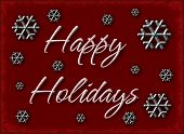 stock photo of happy holidays  - a beautiful rich red background or backdrop with metal snowflakes and happy holidays text - JPG