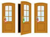picture of open door  - Door and inscription for hotel on a white background - JPG