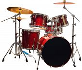 stock photo of drum-kit  - Set of Red drums isolated with clipping path - JPG