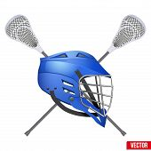 Lacrosse helmet and sticks. poster