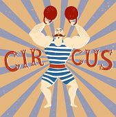 Постер, плакат: Circus Performance Cartoon Illustration With Power Lifter