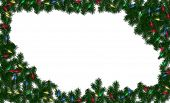 picture of christmas lights  - christmas greenery and lights framed on a white background