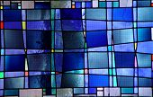 picture of stained glass  - a modern stained glass window found in a catholic church - JPG