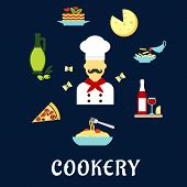 Постер, плакат: Italian cuisine flat icons with chef and dishes