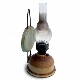 image of kerosene lamp  - Old kerosene lamp isolated on white background - JPG