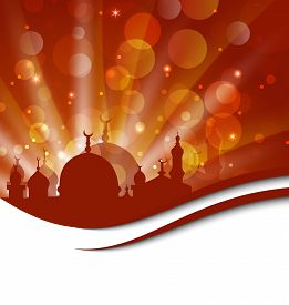 picture of ramazan mubarak  - Illustration elegant religious card with beautiful mosque  - JPG
