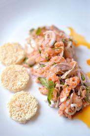picture of crispy rice  - Spicy salmon salad with crispy rice good salmon dinner - JPG