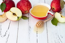 picture of traditional  - Apple and honey traditional food of jewish New Year  - JPG