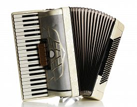 stock photo of accordion  - Accordion isolate on white - JPG