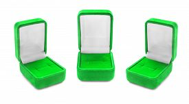 stock photo of jewel-case  - Group of green empty jewel boxes isolated over white - JPG