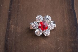 image of brooch  - crystal brooch or fashion brooch on the background - JPG