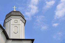 picture of scourge  - Background picture of pilgrimage church Maria Birnbaum in Germany Bavaria free space in sky - JPG