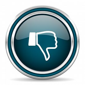 foto of dislike  - dislike blue glossy web icon with double chrome border on white background with shadow    - JPG