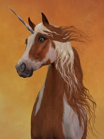picture of sorrel  - The beauty and majesty of a sorrel pinto unicorn stand out against a golden background - JPG