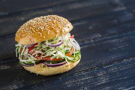 pic of veggie burger  - delicious veggie Burger  - JPG