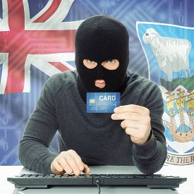 picture of falklands  - Cybercrime concept with flag on background  - JPG