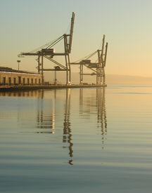 stock photo of pma  - west coast us docks fell silent after international longshore and warehouse union  - JPG