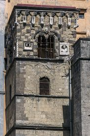 stock photo of anjou  - Bell Tower of the Cappella Pappacoda in Naples Italy was built in 1415 and named after the adviser to King Ladislas of Anjou Artusio Pappacoda - JPG