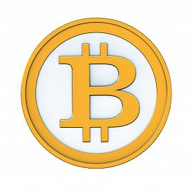 picture of bit coin  - 3d render of abstract bitcoin coin isolated over white background - JPG