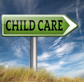 pic of daycare  - child care center road sign in daycare or cr - JPG