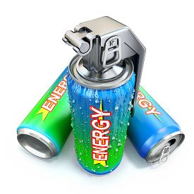 stock photo of grenades  - Energy drink concept with energy drink can and hand grenade - JPG