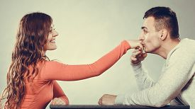 pic of politeness  - Polite man husband kissing woman hand palm - JPG