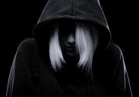 picture of rap-girl  - Misterious girl with hood isolated on black background - JPG