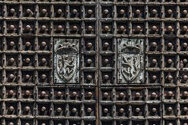 pic of anjou  - Medieval wooden doors of the Naples Cathedral the main church of Naples southern Italy commissioned by King Charles I of Anjou completed in the early 14th century under Robert of Anjou.