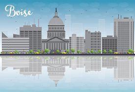picture of boise  - Boise Skyline with Grey Building - JPG