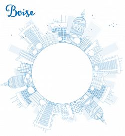 foto of boise  - Outline Boise Skyline with Blue Building and copy space - JPG
