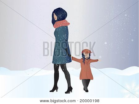 woman walking in a snow with a daughter