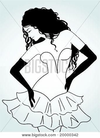 Eine schöne Dame im Kleid auf weißem Hintergrund