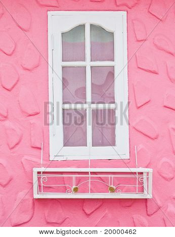 White Window On Pink Wall