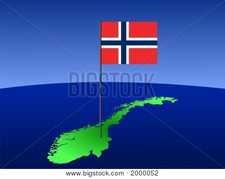 Map With Norwegian Flag