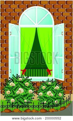 Façade de maison avec la fenêtre ouverte et parterre de fleurs