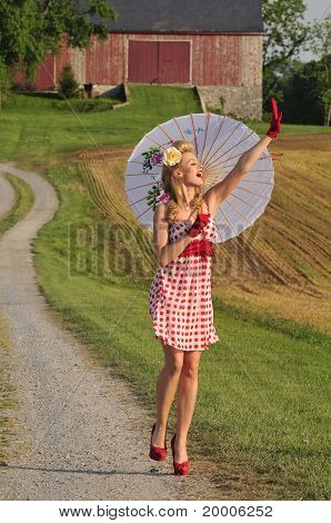 Woman With Umbrella Waving