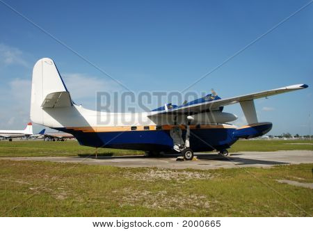 Vintage Seaplane On The Ground