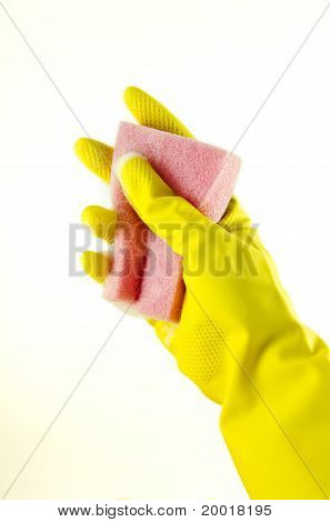 Rubber glove with a sponge