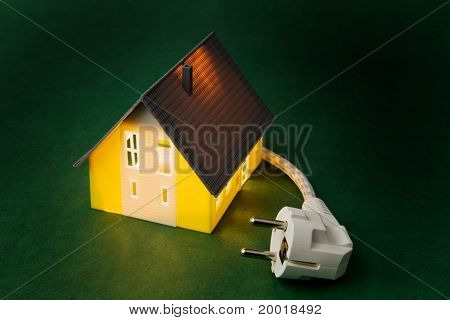 a house with power plug