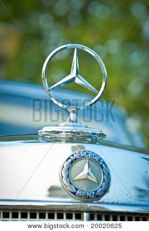Mercedes-Benz emblem on exhibition parking