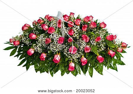 Colorful casket cover flower arrangement