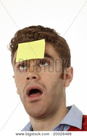 Man With Post  On His Forehead