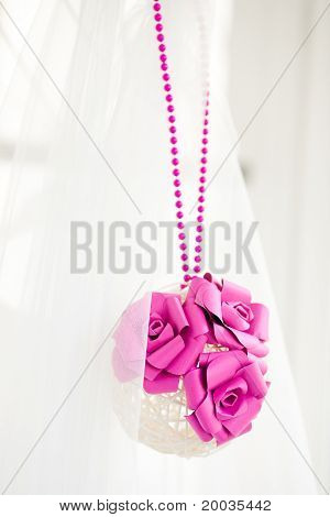 Bridal Decoration Of Sphere With Pink Flowers