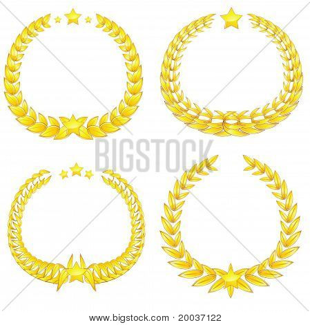 Four Gold Wreaths