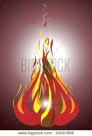 Bonfire on a dark background.Illustration.