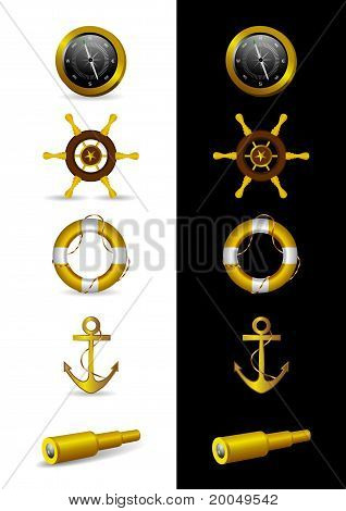 Different Nautical Icons - Vector Illustration