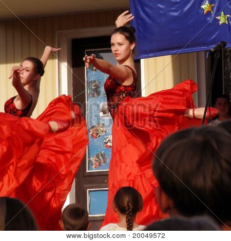 MARGANETS UKRAINE - MAY 20: Young unknown girls dance classic on stage