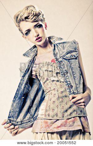 Beautiful Blond Fashion Model Studio  Shot
