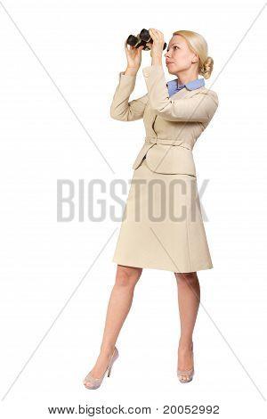 Business Woman Looks Through Binoculars