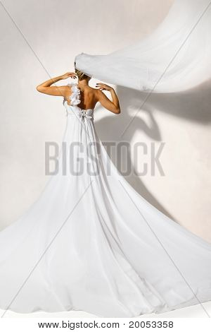 Back Of Bride In Wedding White Dress